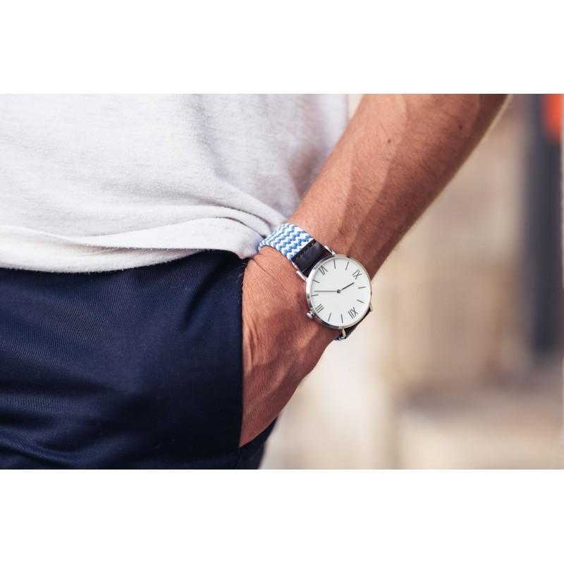 Bicolour Woven watch strap  Blue / White