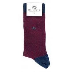 Gift box burgundy herringbone socks +The Wellington woven belt