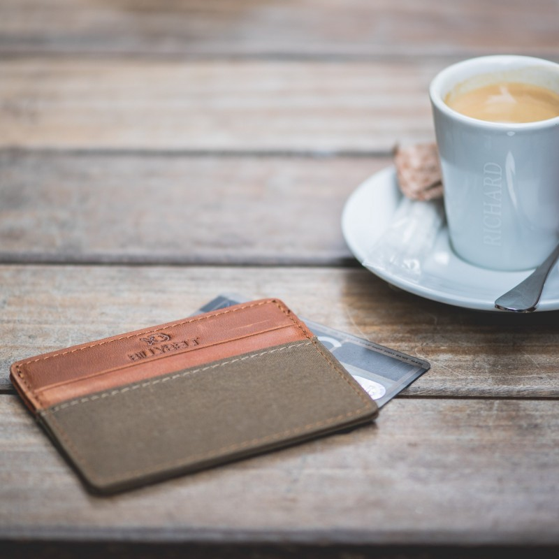 Porte-cartes slim beige