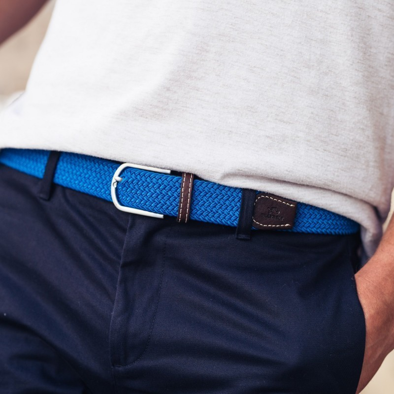 Elastic woven belt  Azure Blue
