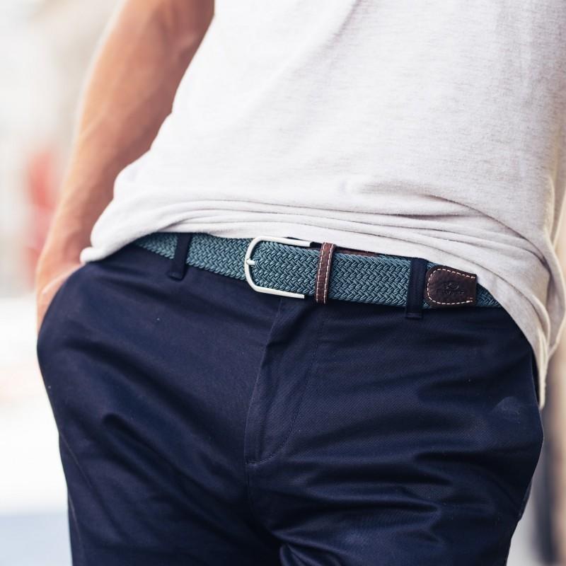 Elastic woven belt  Navy Grey