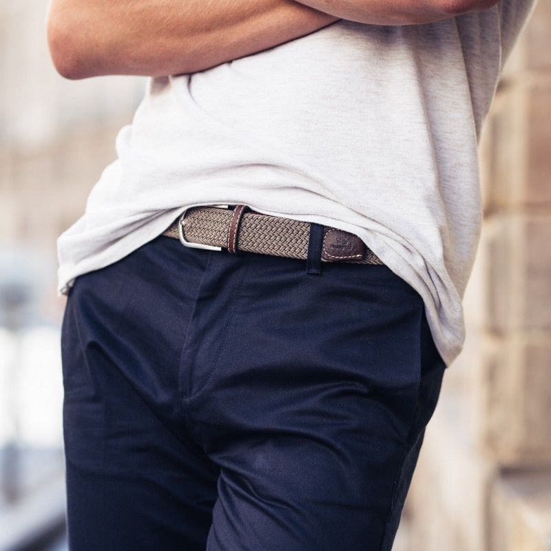 Elastic woven belt  Taupe Beige