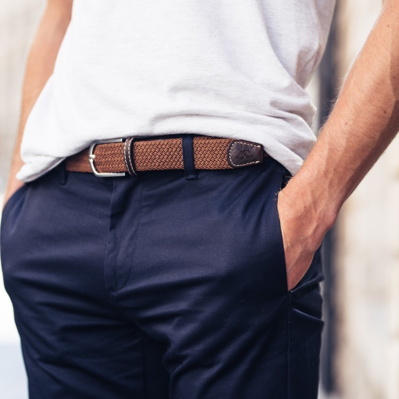 Elastic woven belt  Camel Brown