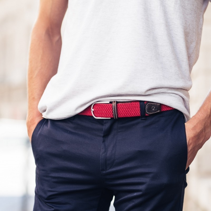 Elastic woven belt  Watermelon Red