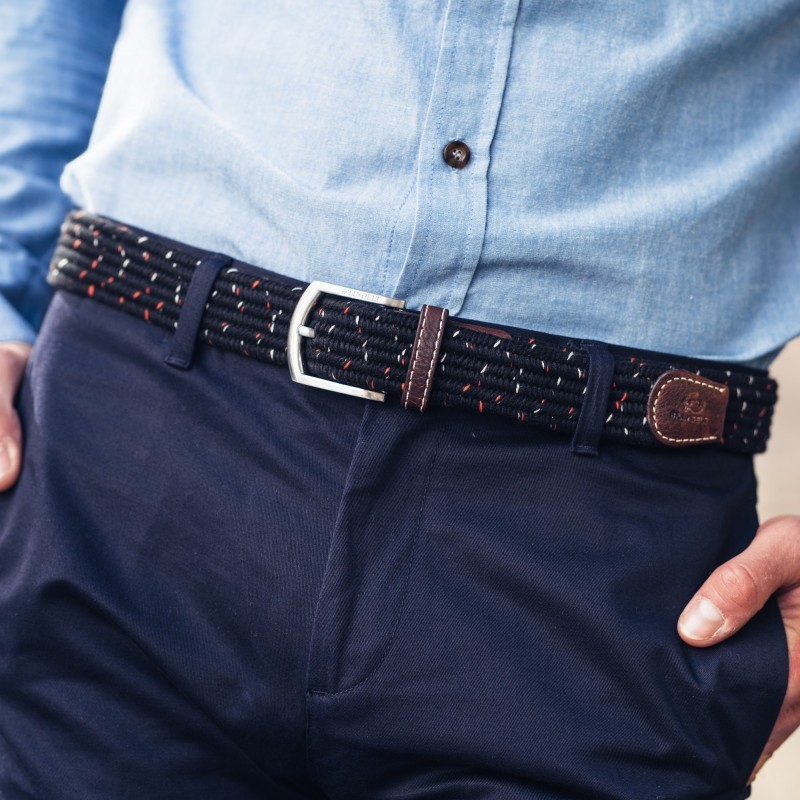 Elastic woven belt  The Club Black Pepper
