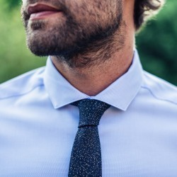 Wool tie  Navy / Yellow