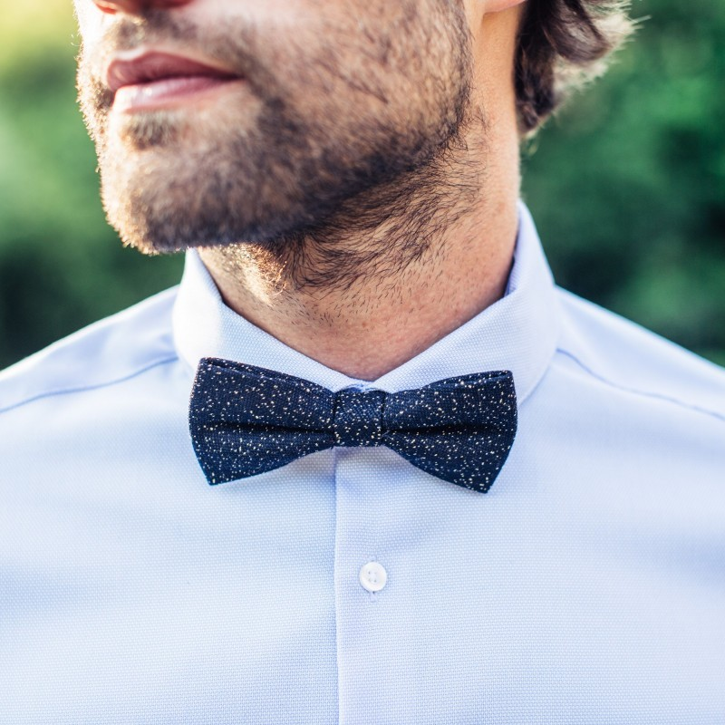 Wool bow tie  Navy / Yellow