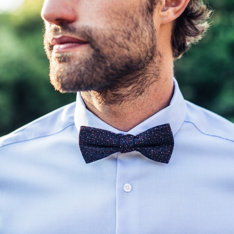 Wool bow tie  Navy / Red