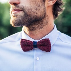 Knitted bow tie  Burgundy / blue