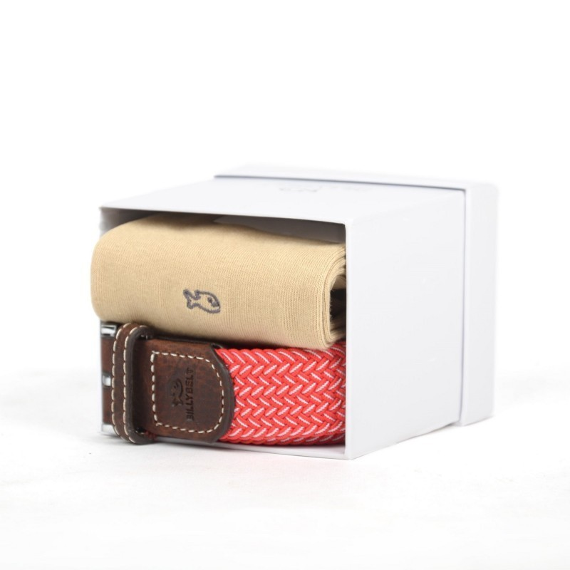 beige and red belt and socks