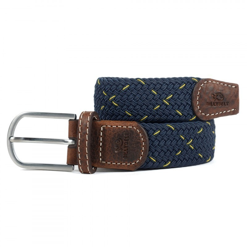 Blue and yellow woven belt