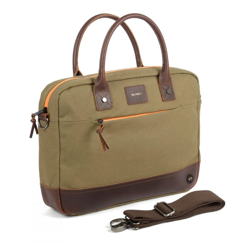 Laptop Bag khaki and leather