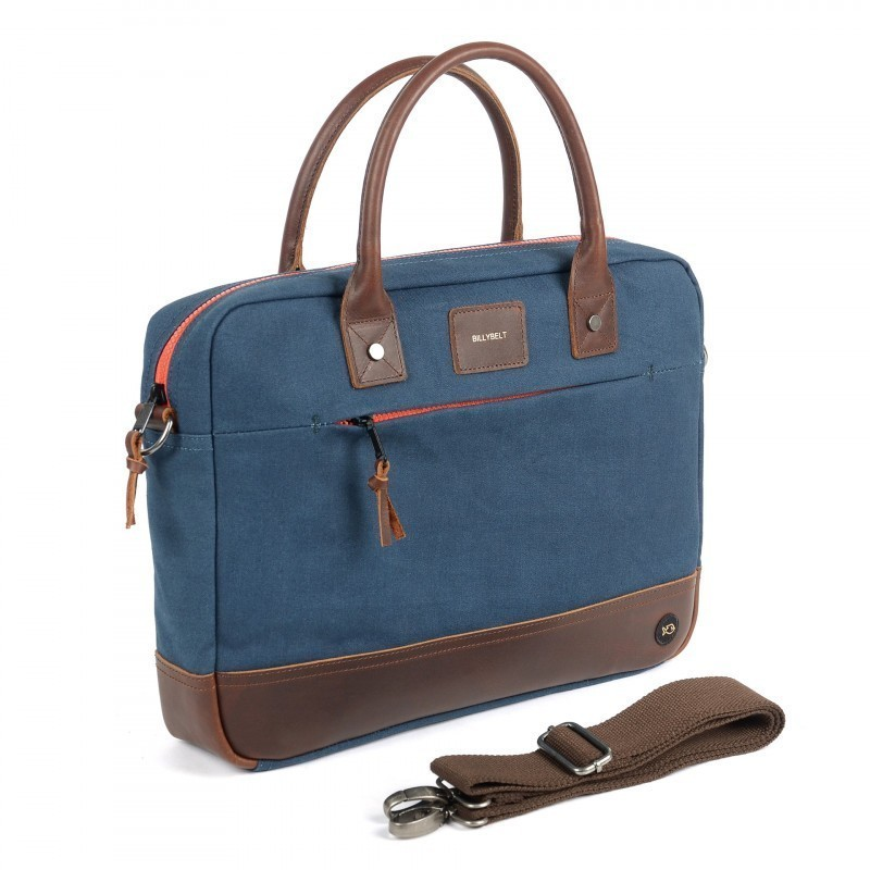 Navy and leather Laptop Bag