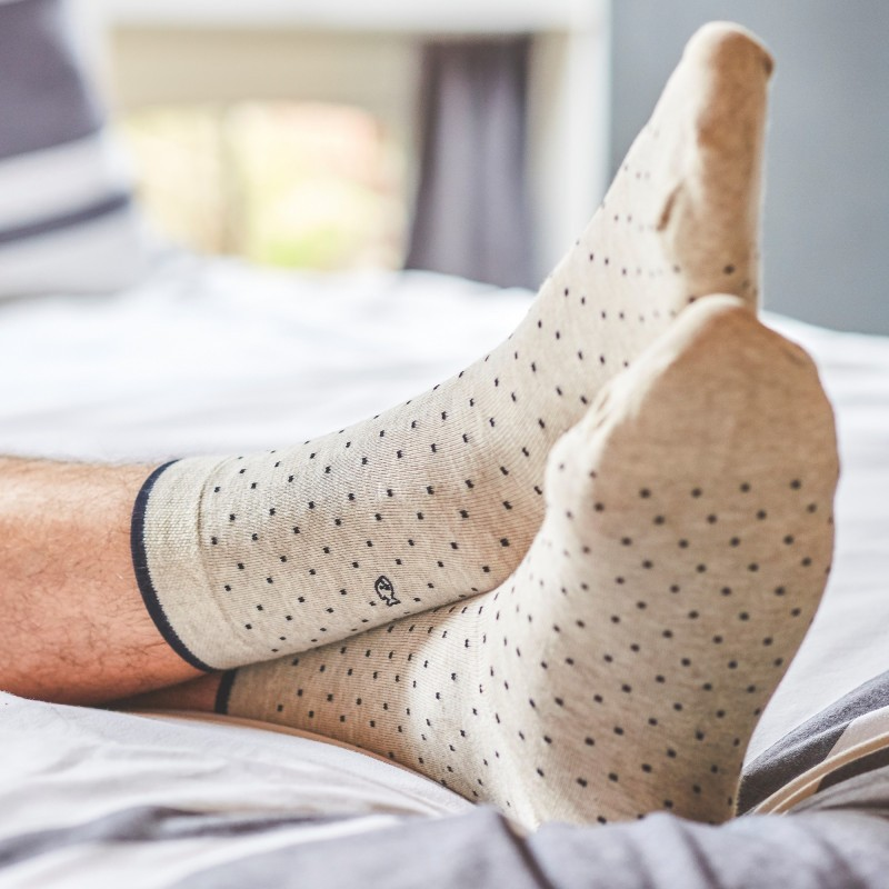Cotton socks  Mottled Beige Square