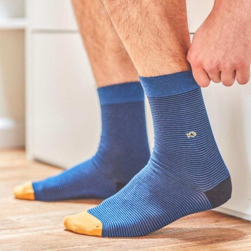 Cotton socks  Navy Striped