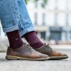 Chaussettes coton  Rayée Bordeaux