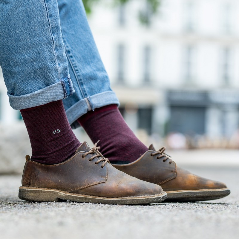Cotton socks  Burgundy Striped