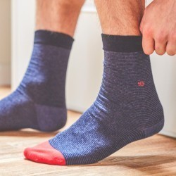 Chaussettes coton  Rayée Bleu Nuit