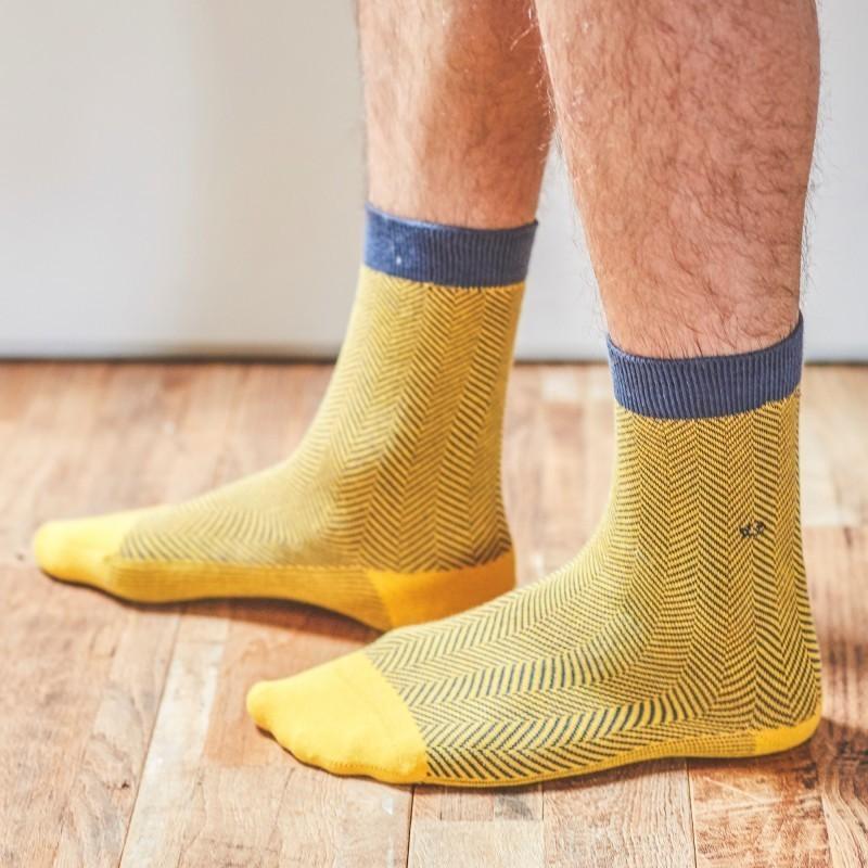 Cotton socks  Yellow Herringbone