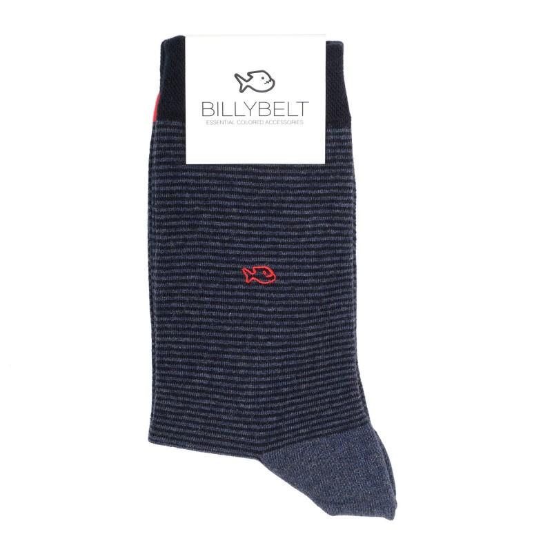 Men Socks petrol night blue Striped
