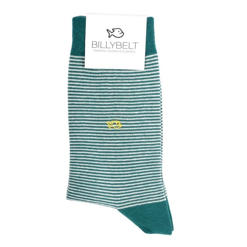 Men Socks petrol green Striped