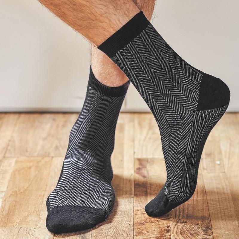 Cotton socks  Beige Herringbone