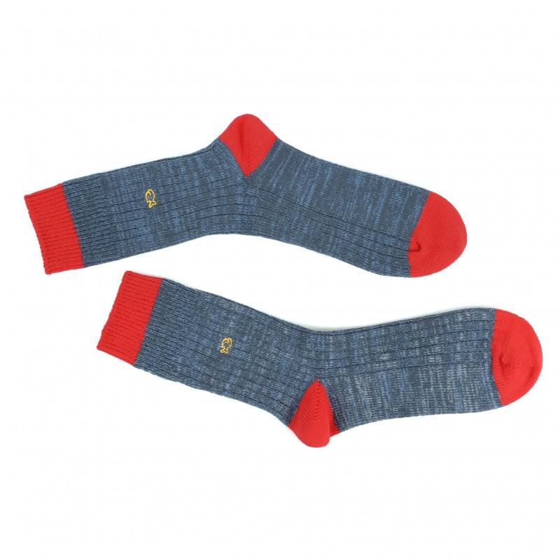 Chaussettes épaisses bleu et rouge