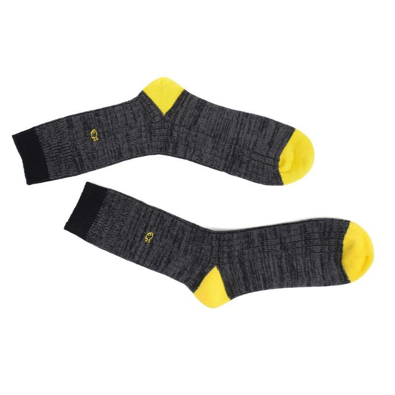 Chaussettes épaisses gris et jaune