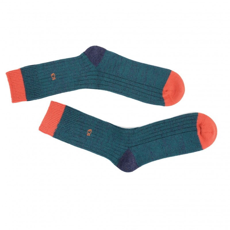 thick men socks orange and green