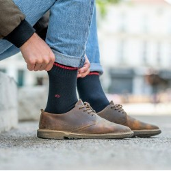Pique knit socks  Navy and Red