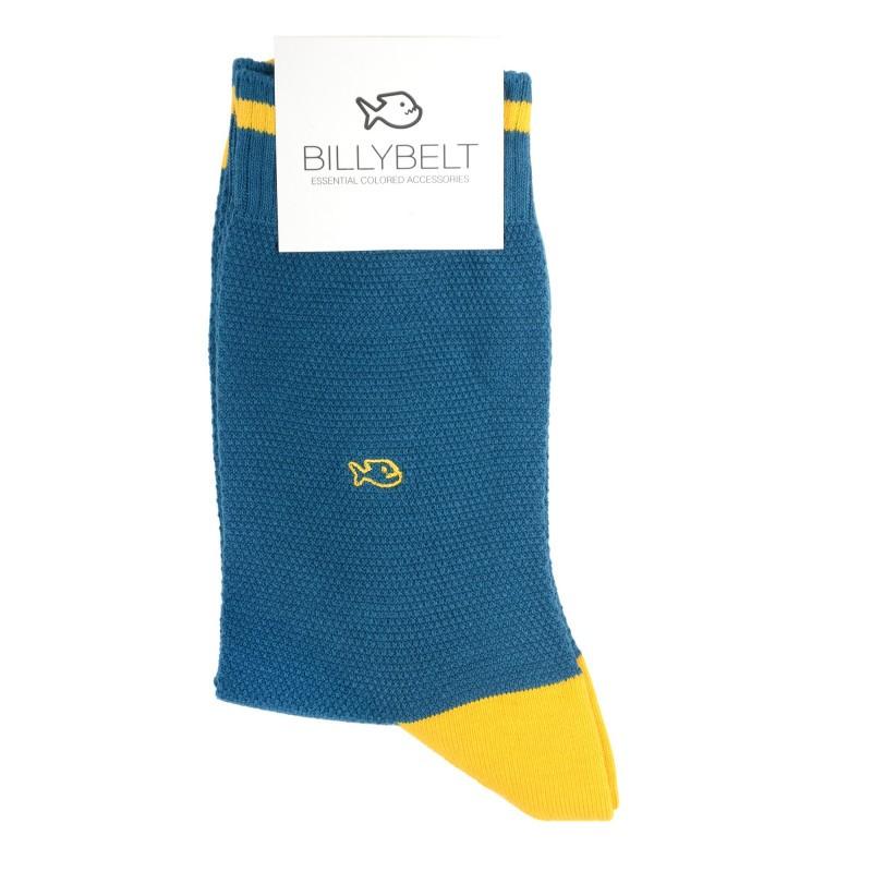 chaussettes retro sport maille piquée bleu canard Homme