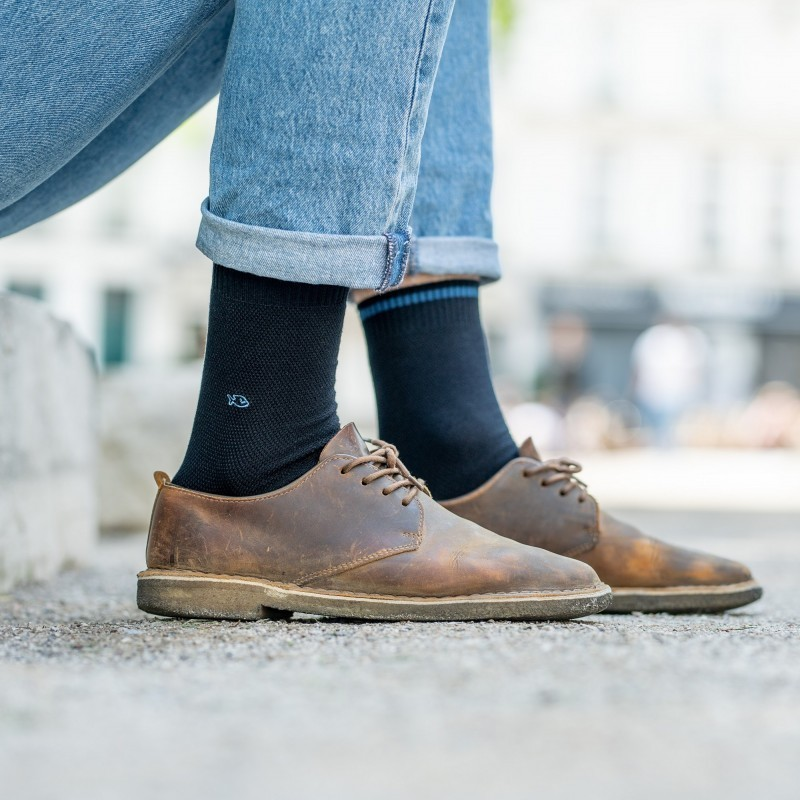 Pique knit socks  Navy and Blue