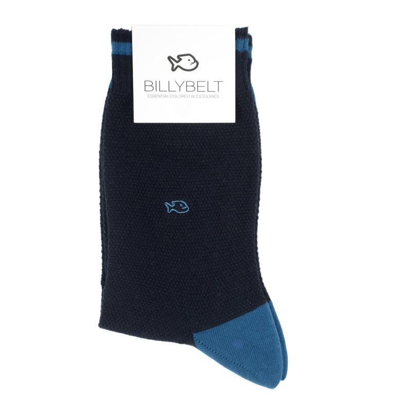 chaussettes retro sport maille piquée Marine et Bleu Homme