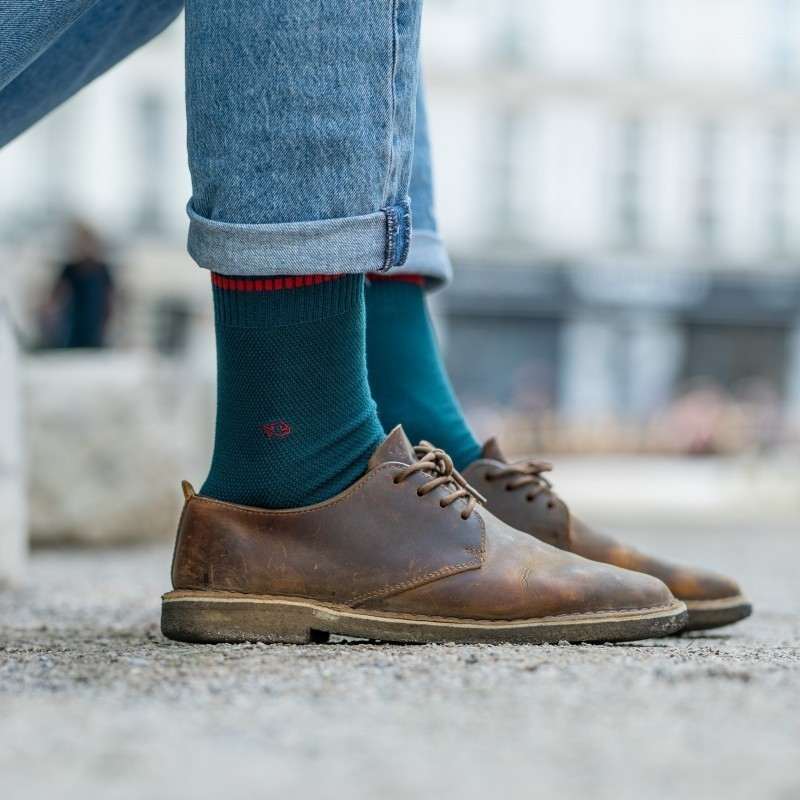 Pique knit socks  Peacock blue and Red
