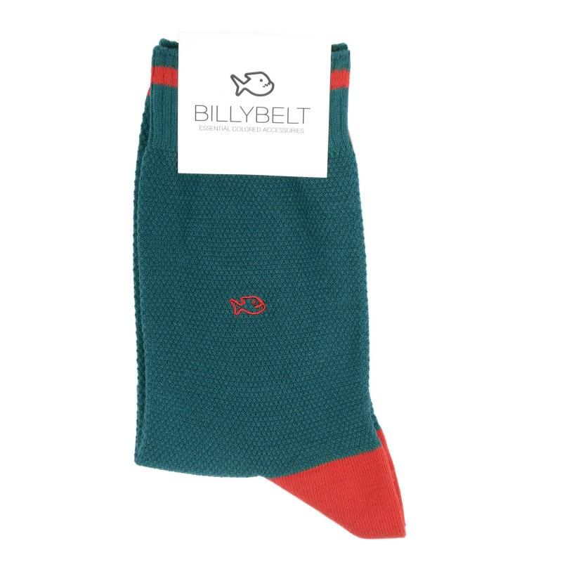 chaussettes retro sport maille piquée Bleu paon et rouge Homme