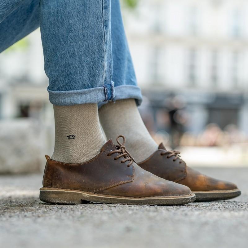 Pique knit socks  Mottled Beige and Navy