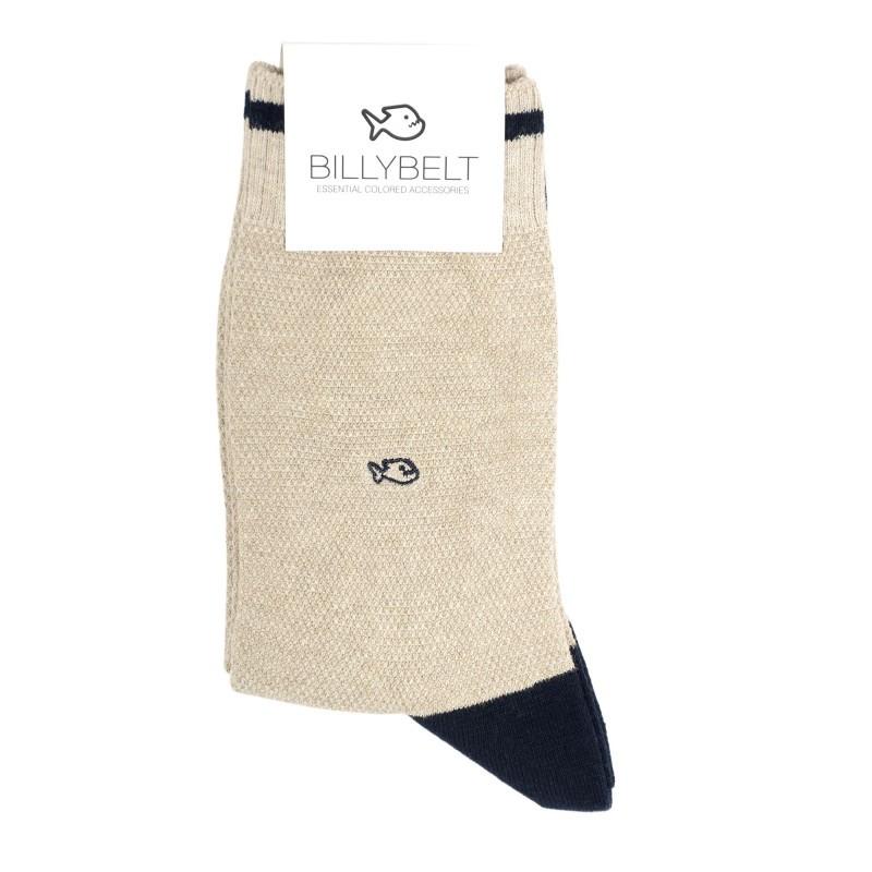 retro sport pique knit socks men Mottled Beige and Navy