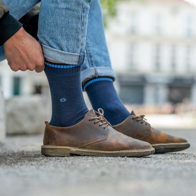 Pique knit socks  Mottled Blue and Sky Blue
