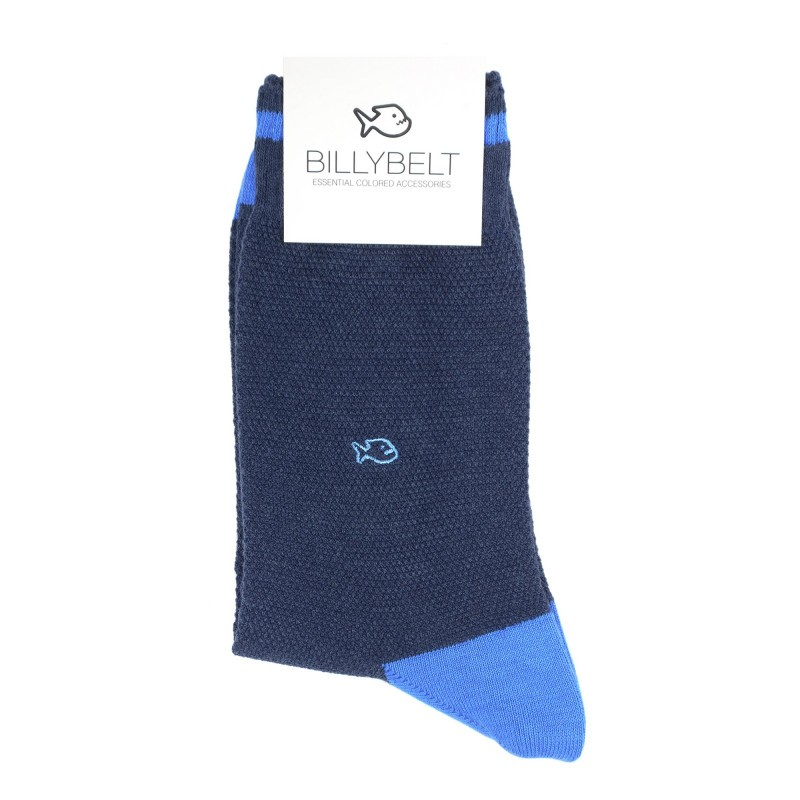 chaussettes retro sport maille piquée Bleu Chiné et Ciel Homme