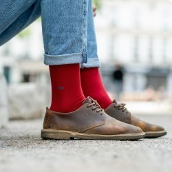 Pique knit socks  Red and Petrol Blue