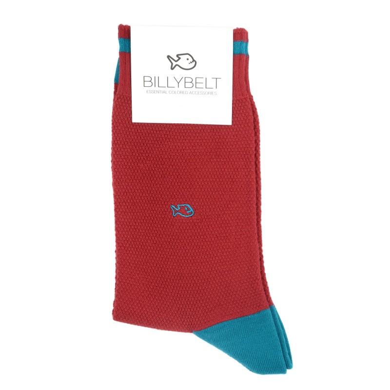chaussettes retro sport maille piquée Rouge et Bleu Pétrole Homme