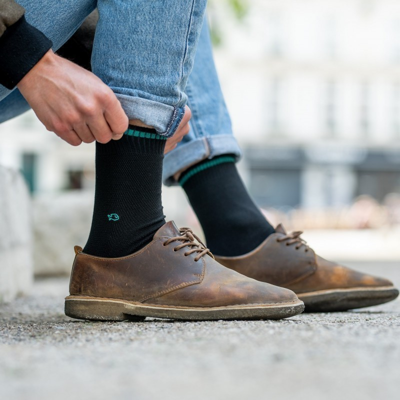 Pique knit socks  Black and Green