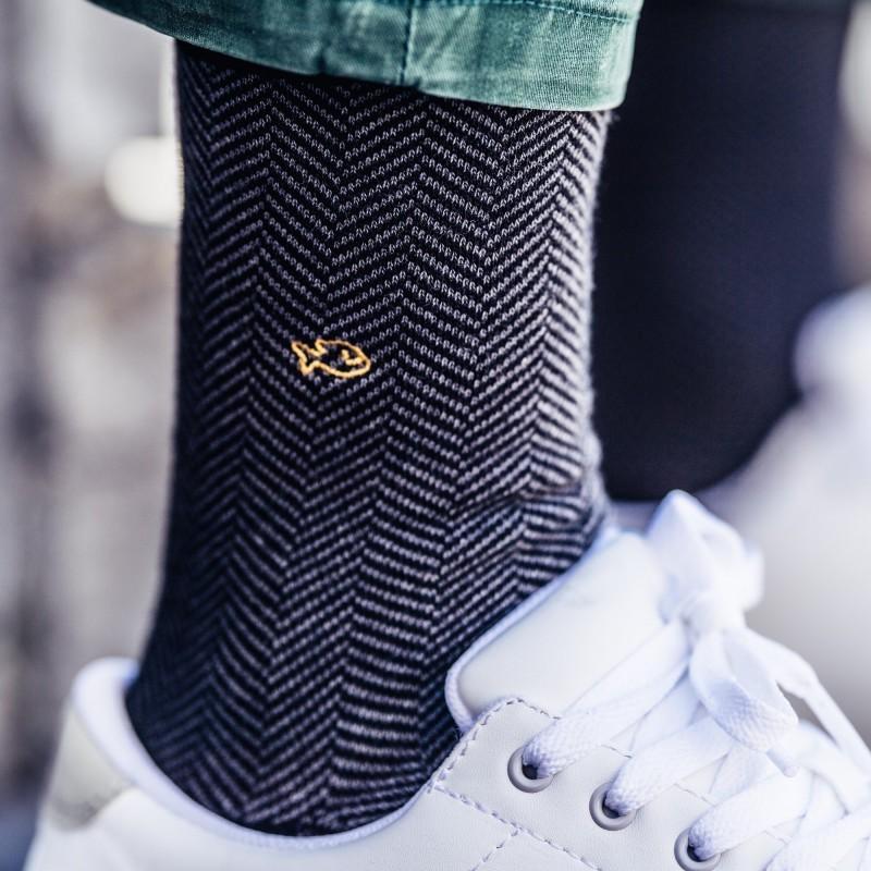 Cotton socks  Grey Herringbone
