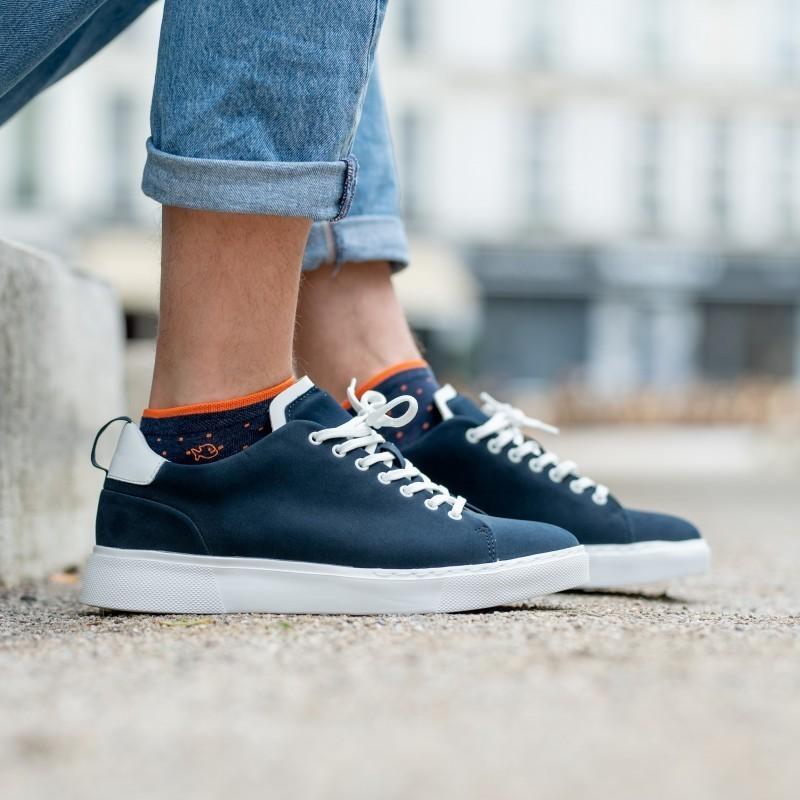 Cotton ankle socks   Mottled Blue Square