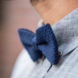 Knitted bow tie  Navy Blue