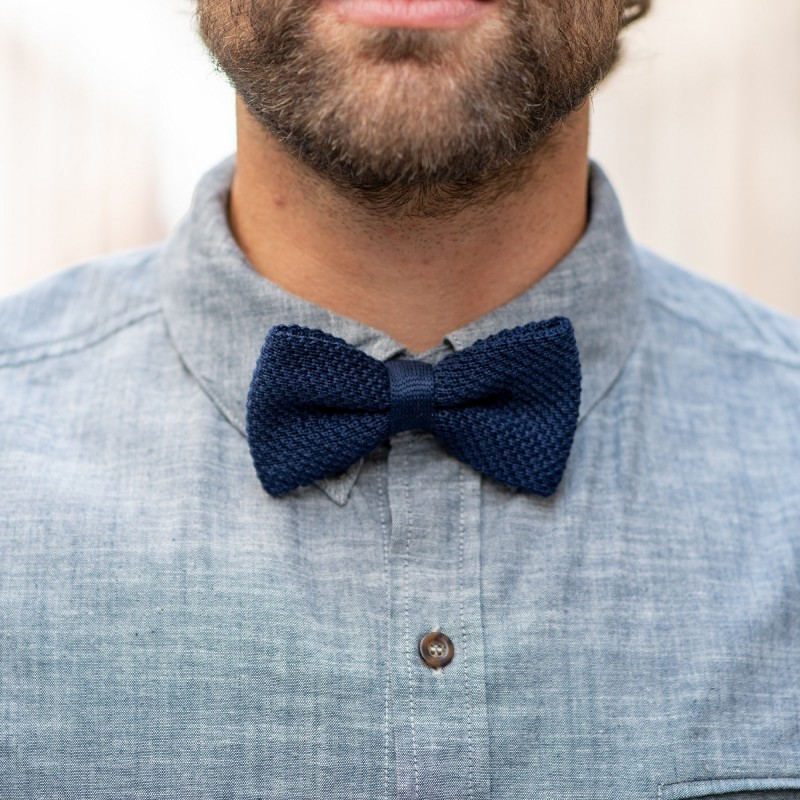 Noeud papillon tricot   Bleu Marine