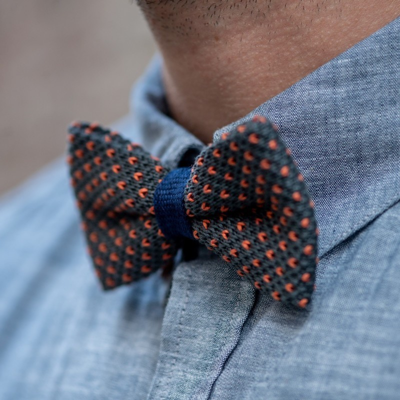 Knitted bow tie  Grey and Orange