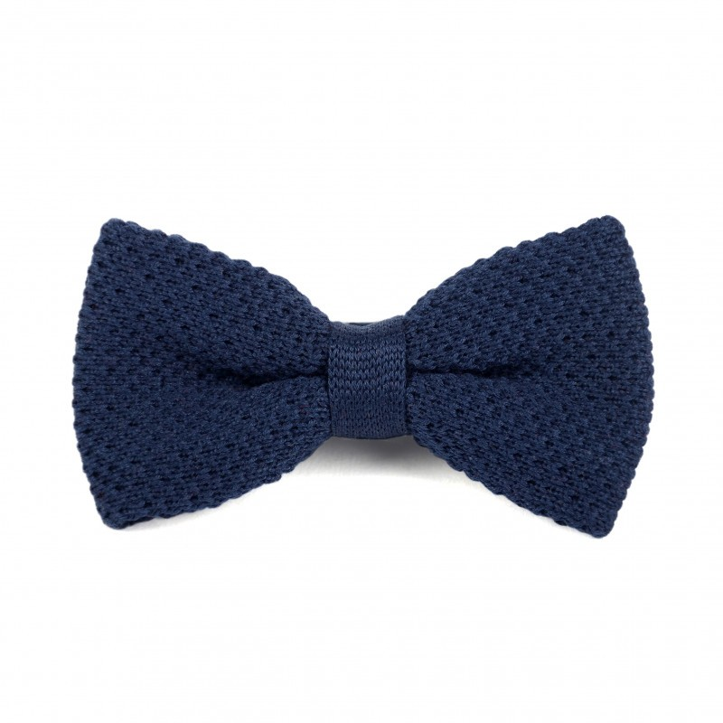 Navy blue cotton knit bow tie