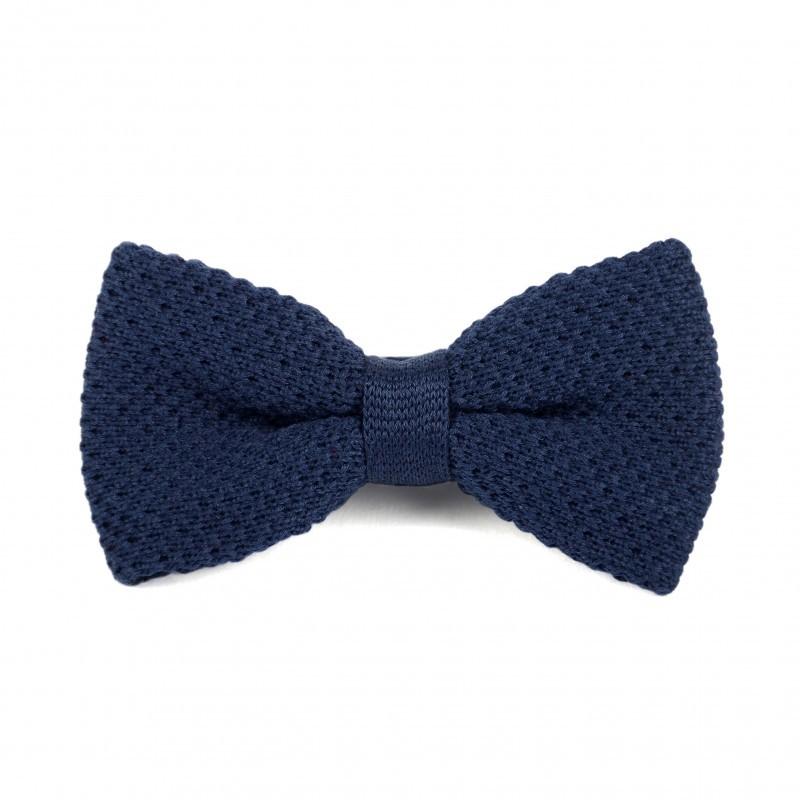 Noeud papillon tricot coton bleu marine