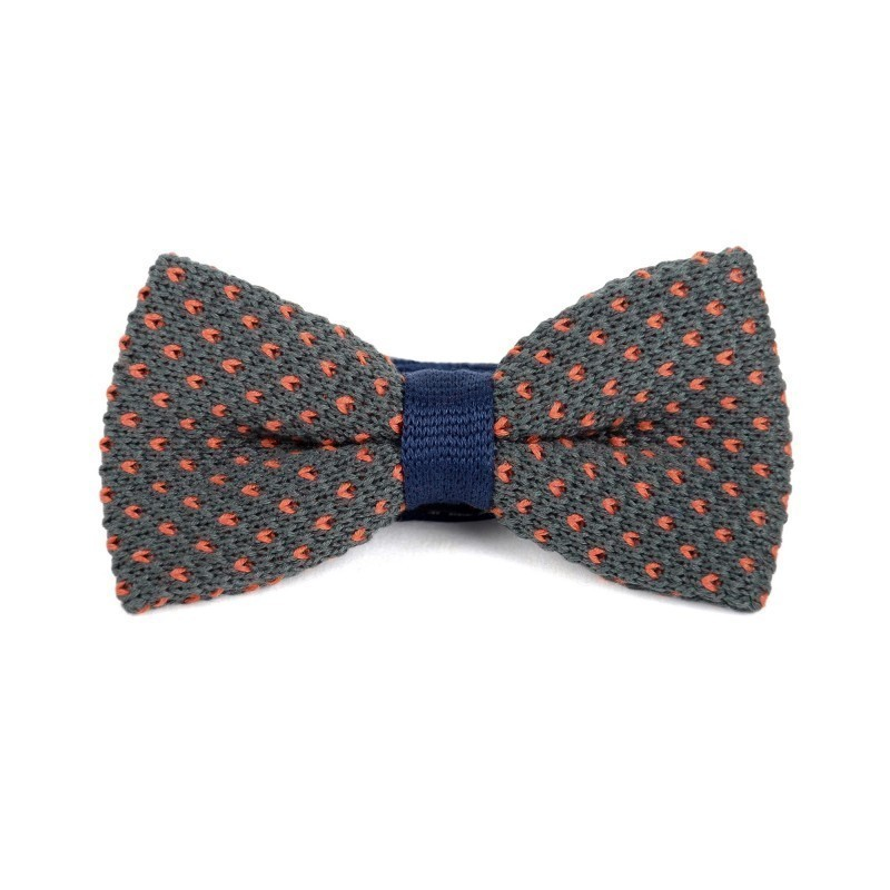 Grey and Orange cotton knit bow tie
